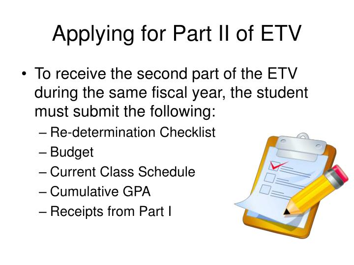 Applying for Part II of ETV
