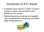 distribution of etv award