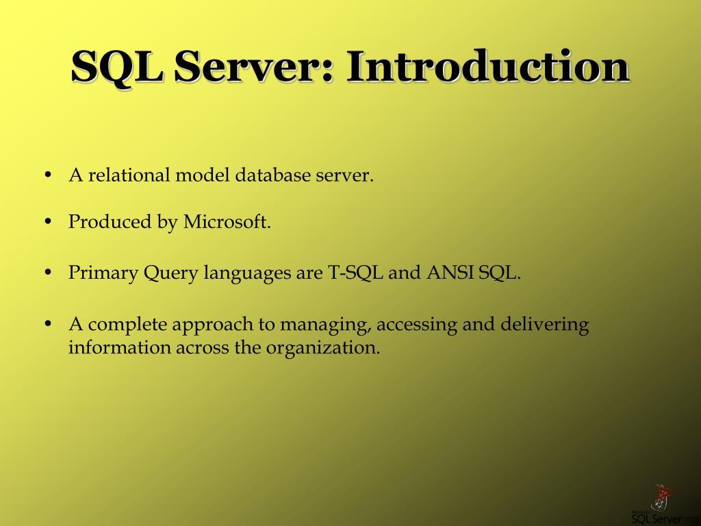 SQL Server: Introduction