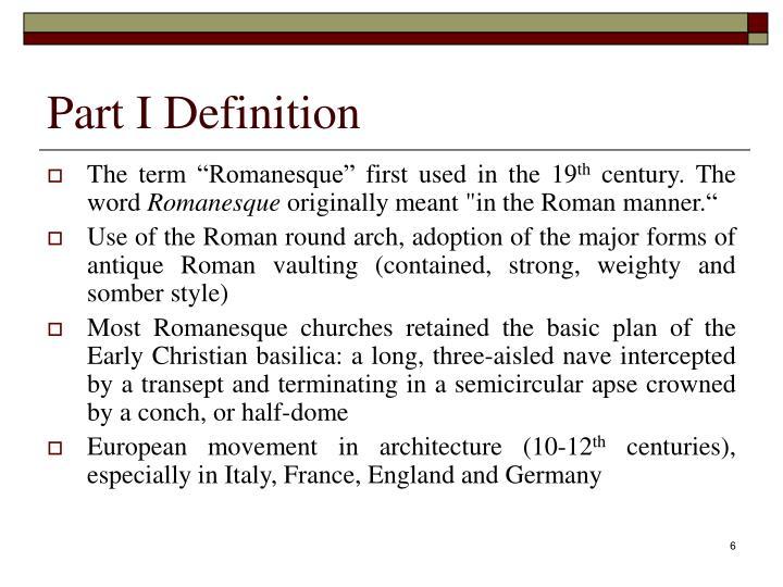 Part I Definition