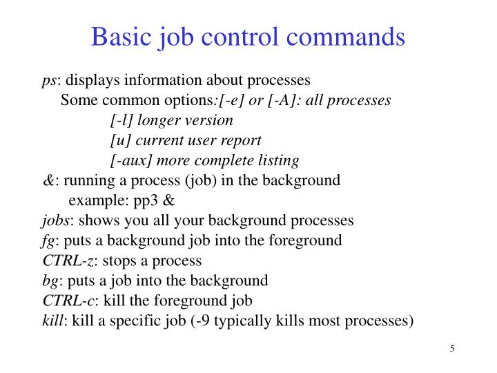Basic job control commands