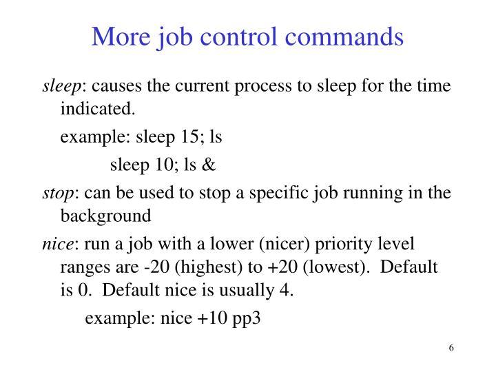 More job control commands