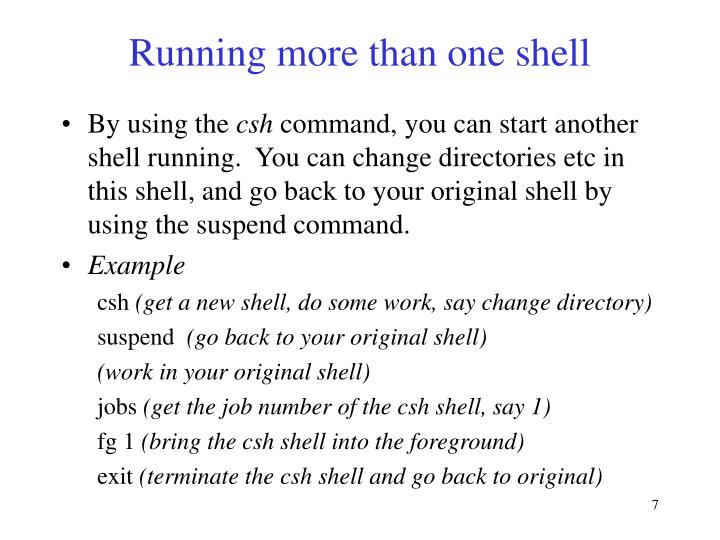 Running more than one shell