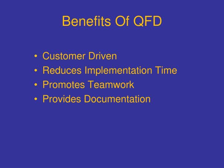 Benefits Of QFD