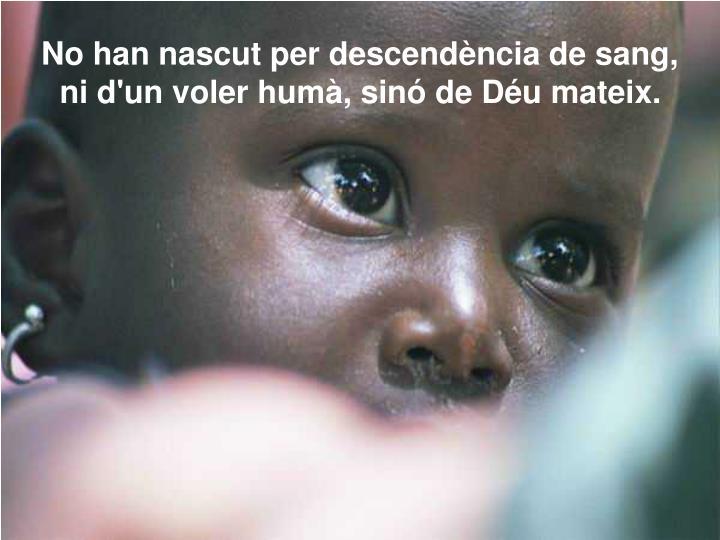 No han nascut per descendència de sang,