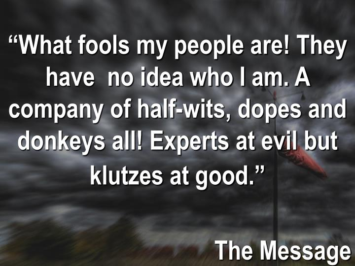 """What fools my people are! They have  no idea who I am. A company of half-wits, dopes and donkeys all! Experts at evil but klutzes at good."""