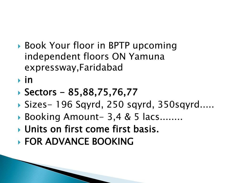 Book Your floor in BPTP upcoming independent floors ON Yamuna