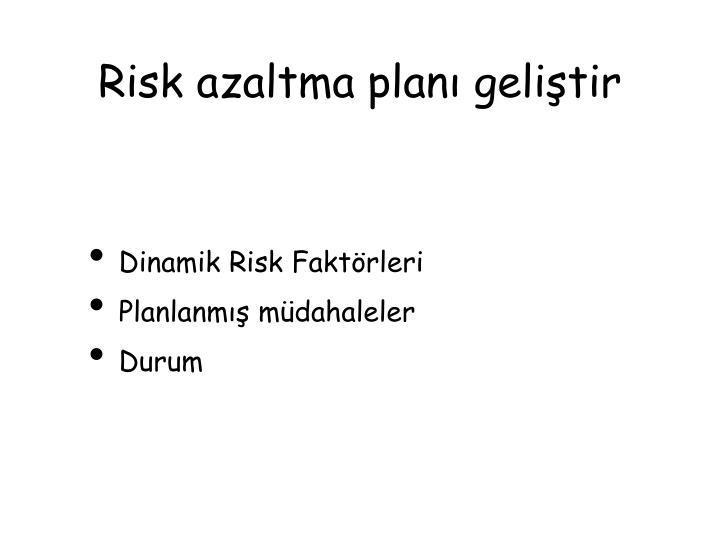 Risk azaltma planı geliştir