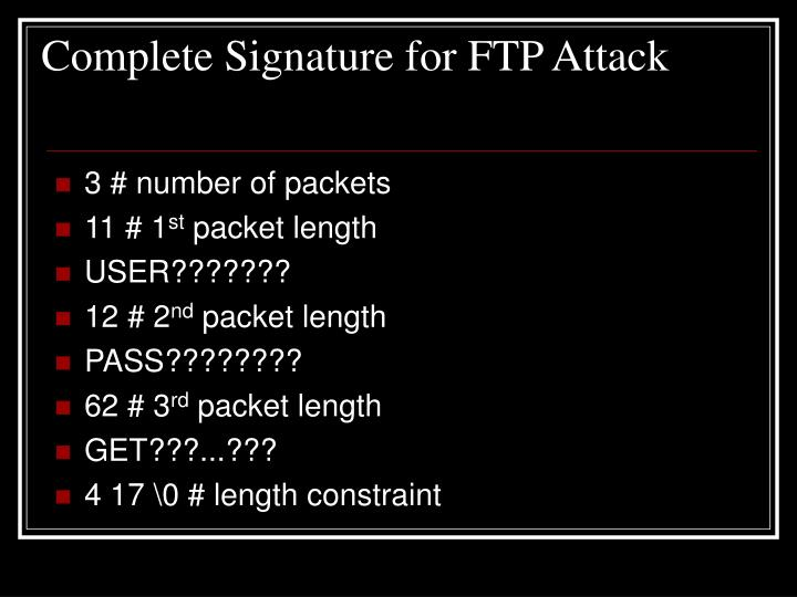 Complete Signature for FTP Attack