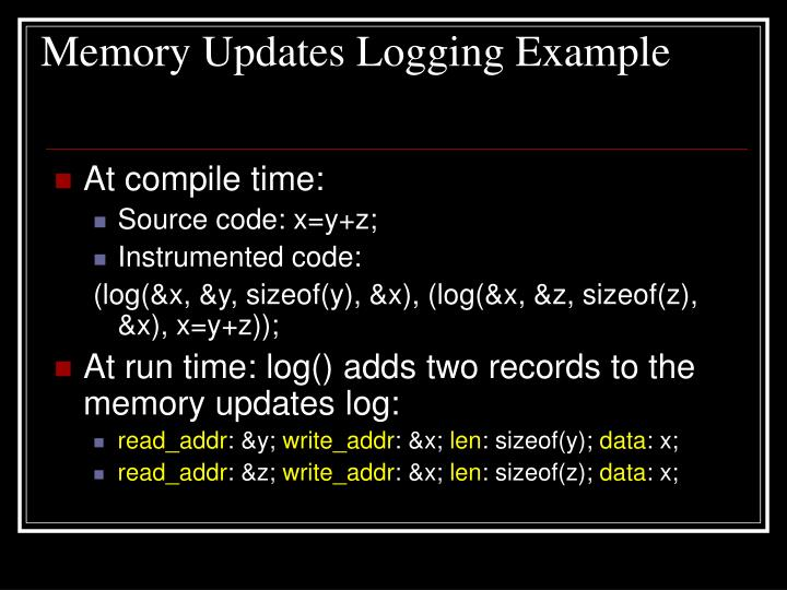 Memory Updates Logging Example