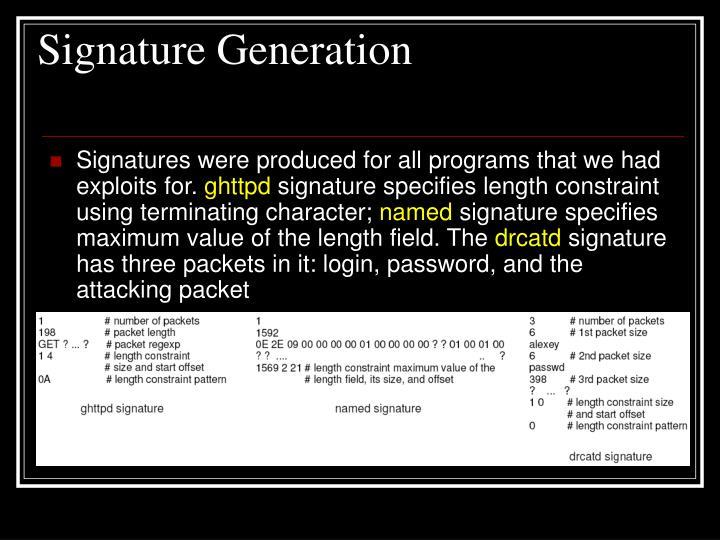 Signature Generation