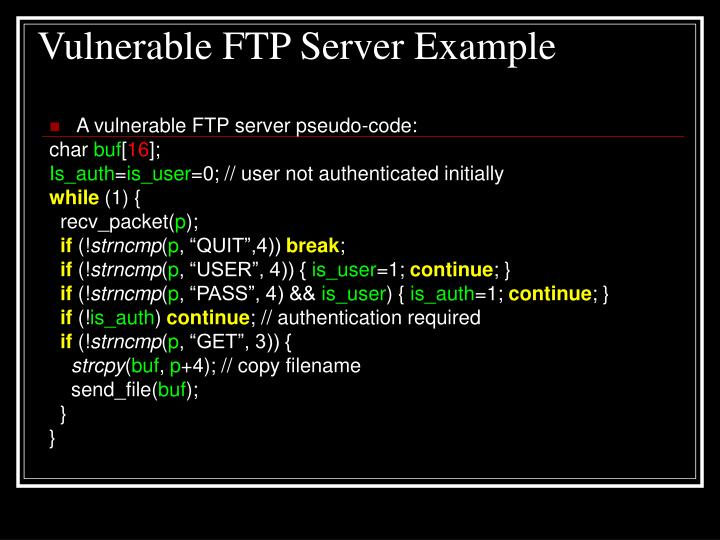 Vulnerable FTP Server Example