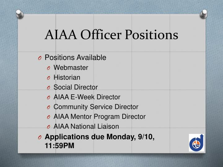 AIAA Officer Positions
