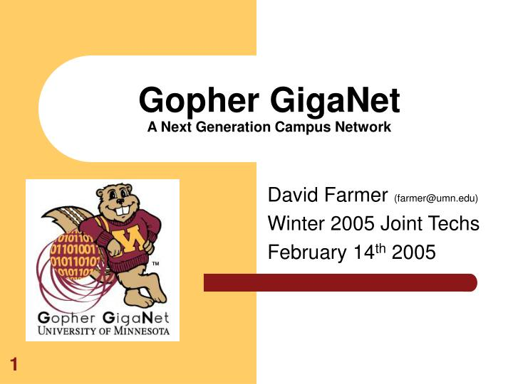 Gopher giganet a next generation campus network