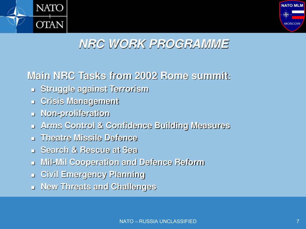 NRC WORK PROGRAMME