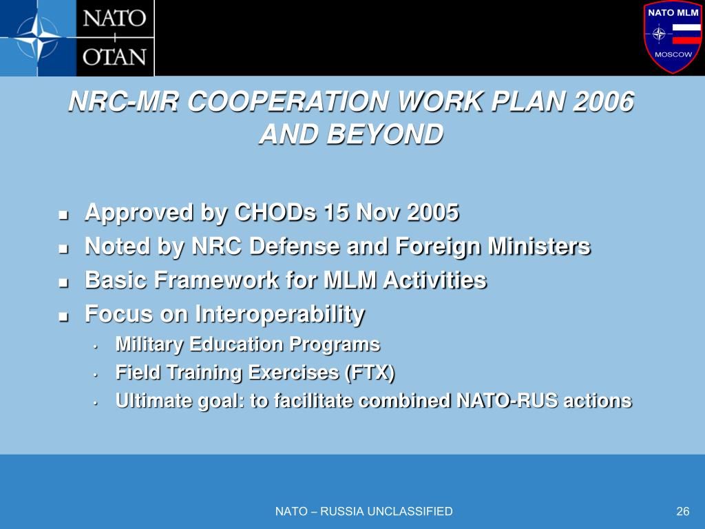 NRC-MR COOPERATION WORK PLAN 2006
