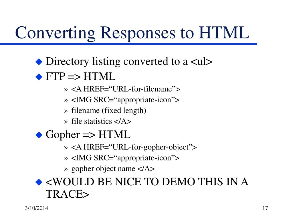 Converting Responses to HTML