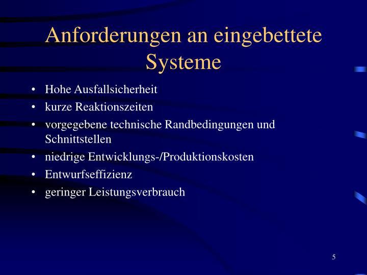 Anforderungen an eingebettete Systeme