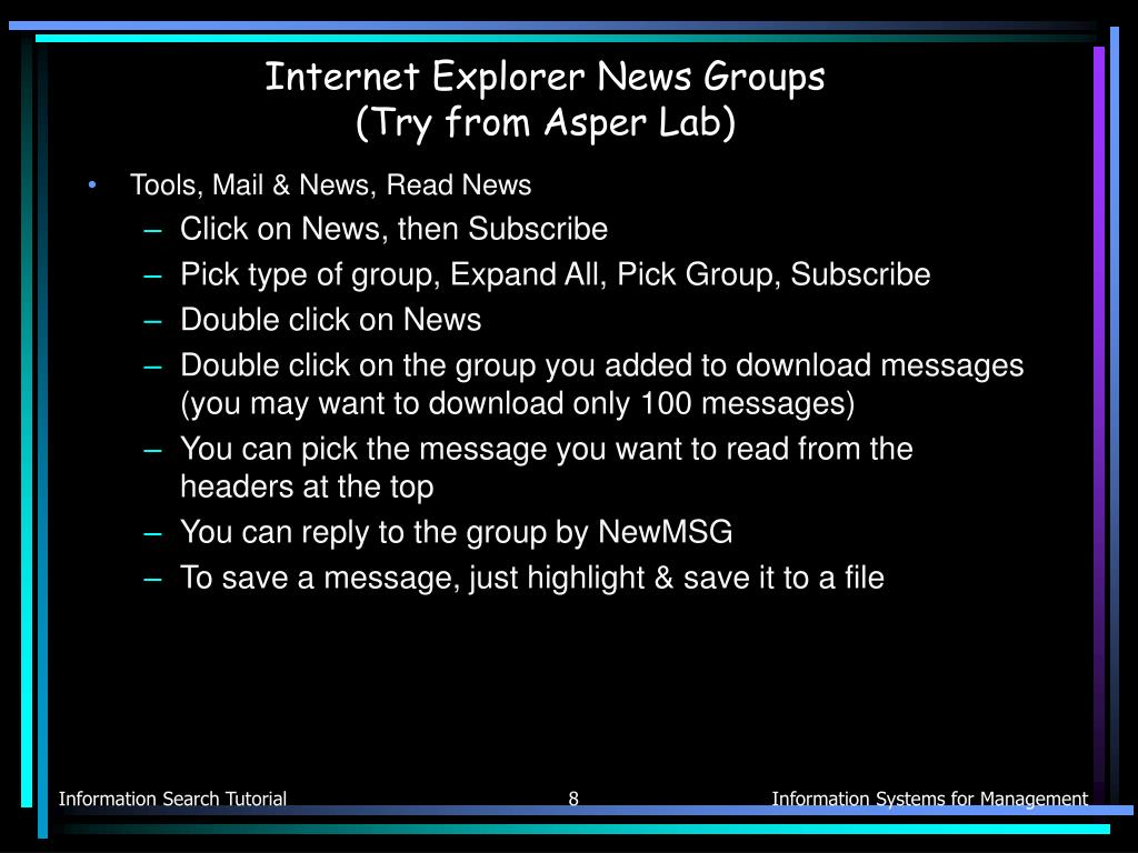Internet Explorer News Groups