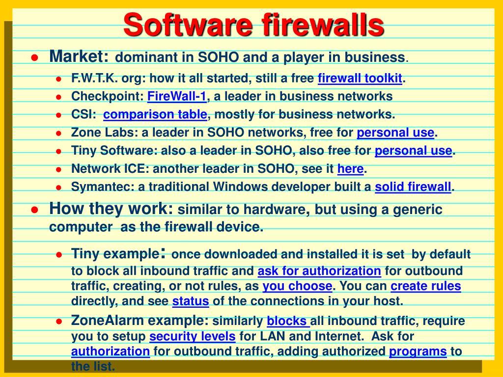 Software firewalls