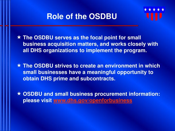 Role of the OSDBU