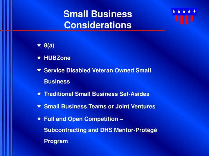 Small Business Considerations