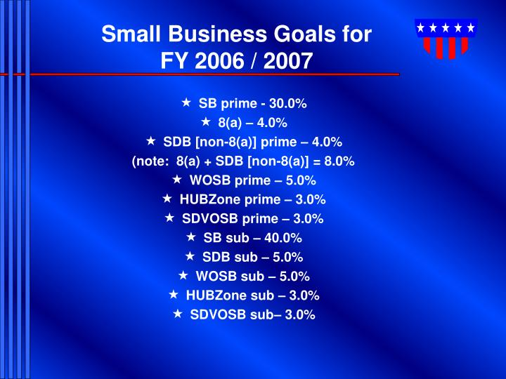 Small Business Goals for FY 2006 / 2007