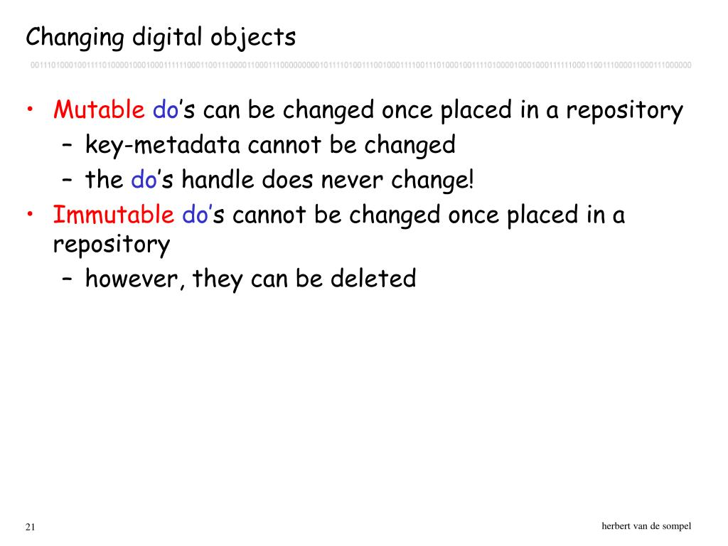 Changing digital objects