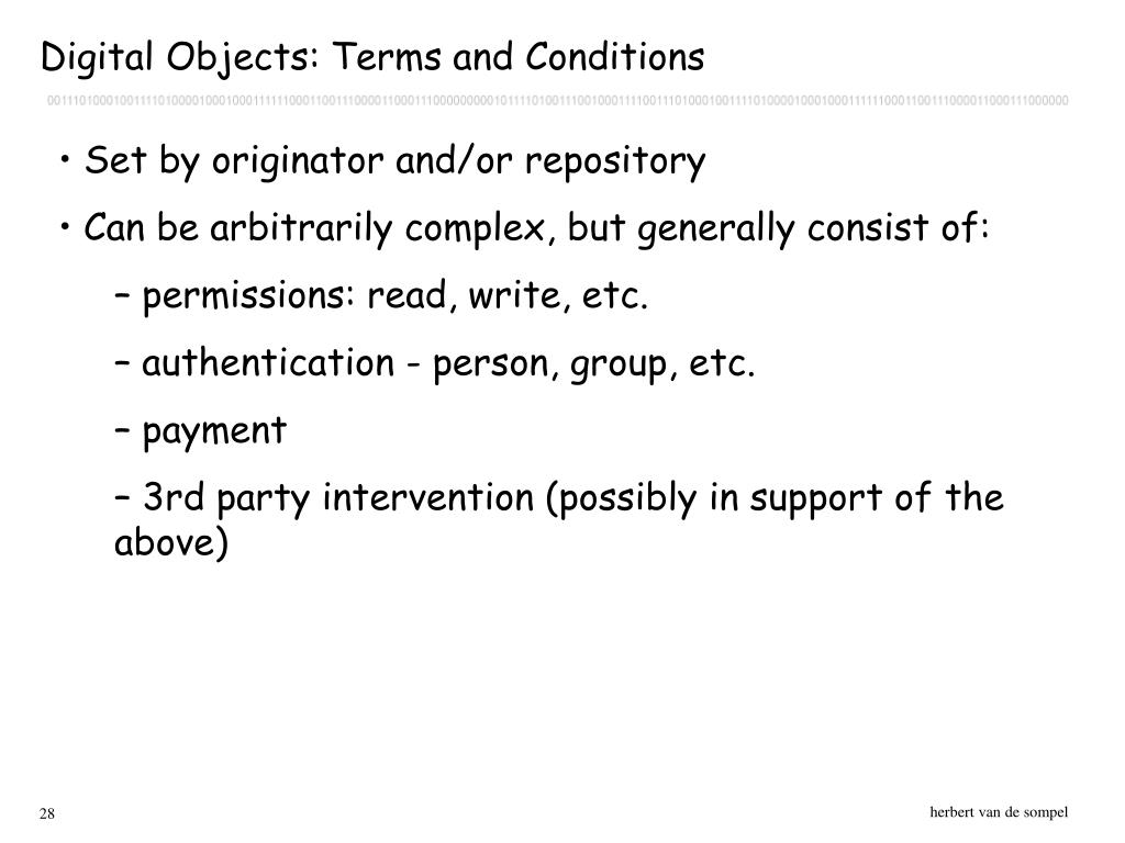 Digital Objects: Terms and Conditions