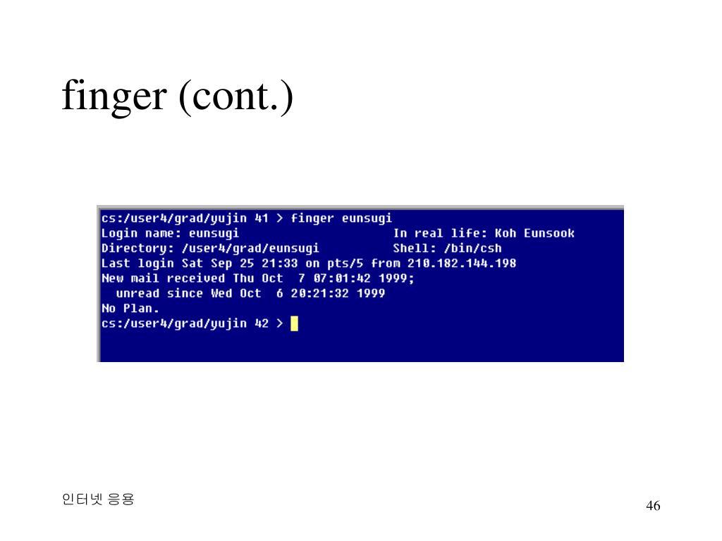 finger (cont.)