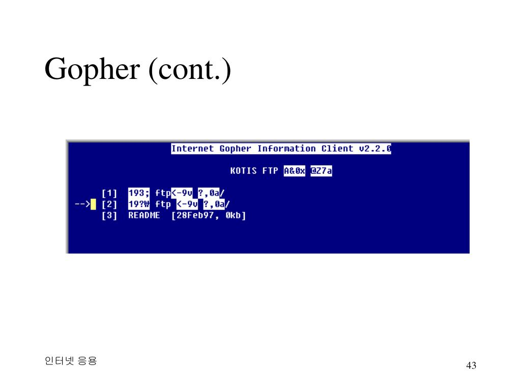 Gopher (cont.)