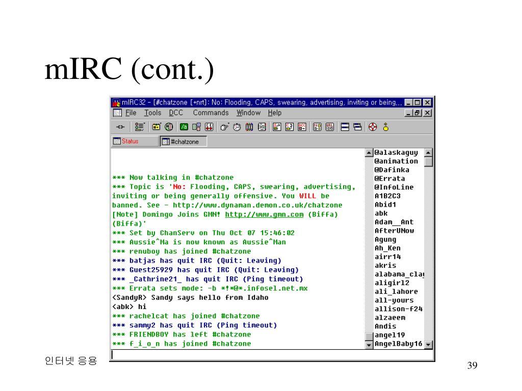mIRC (cont.)