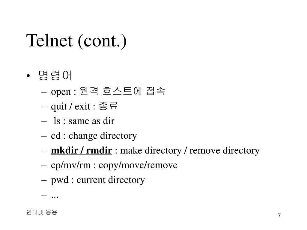 Telnet (cont.)