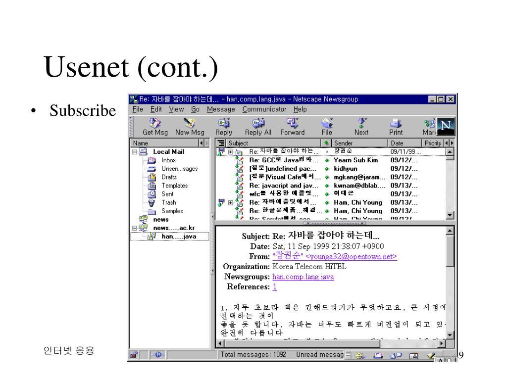 Usenet (cont.)
