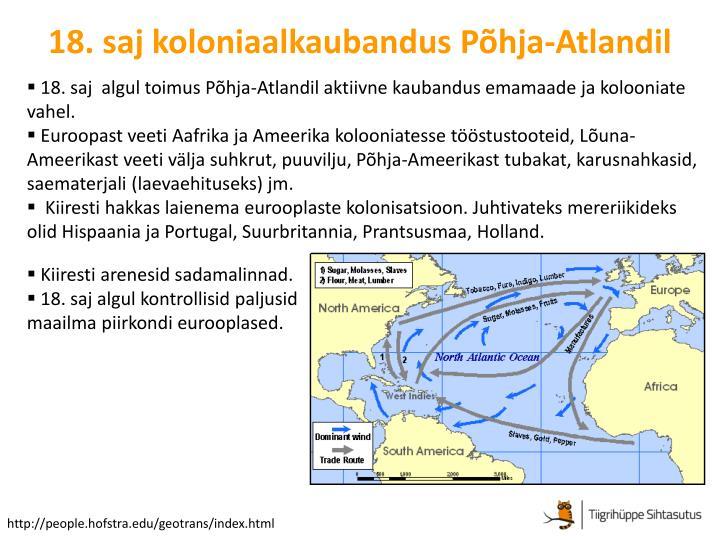18. saj koloniaalkaubandus Põhja-Atlandil