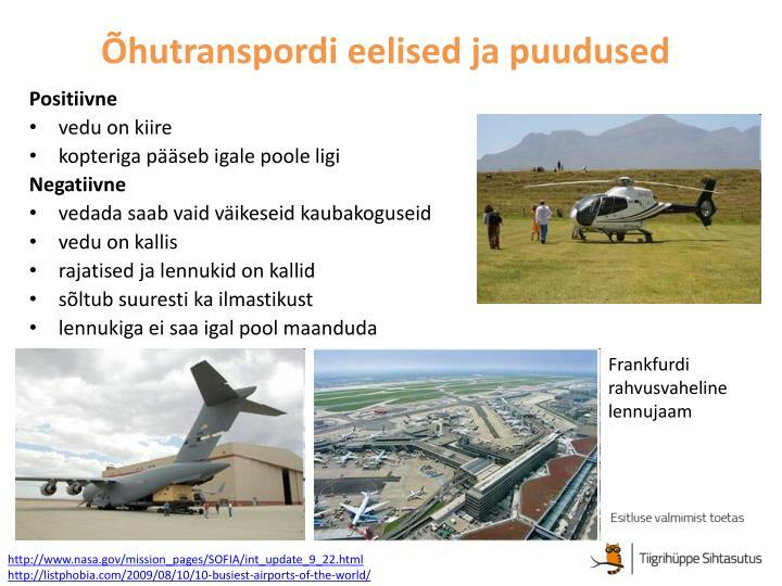Õhutranspordi eelised ja puudused