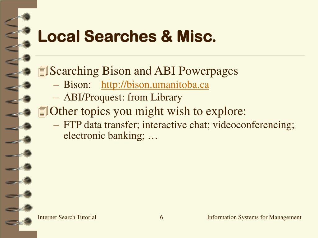Local Searches & Misc.