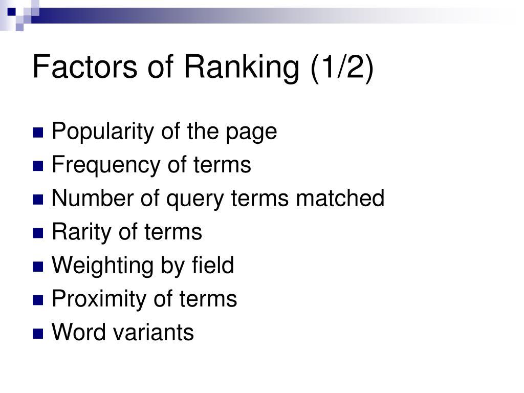Factors of Ranking (1/2)