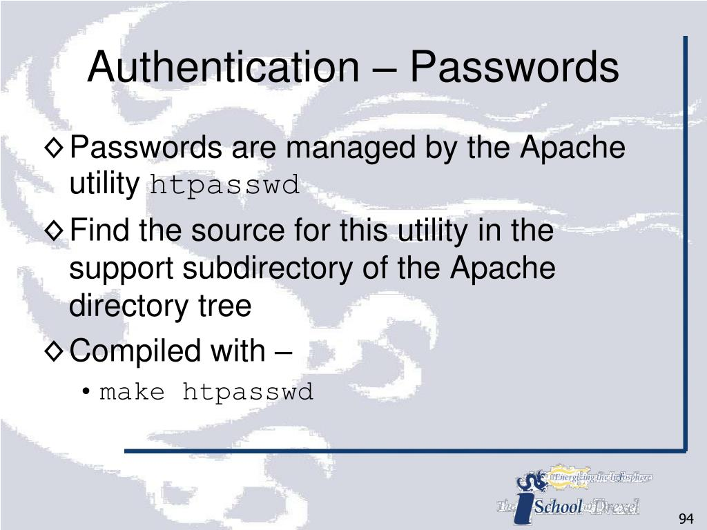 Authentication – Passwords