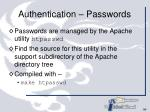 authentication passwords