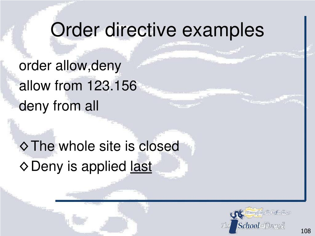 Order directive examples