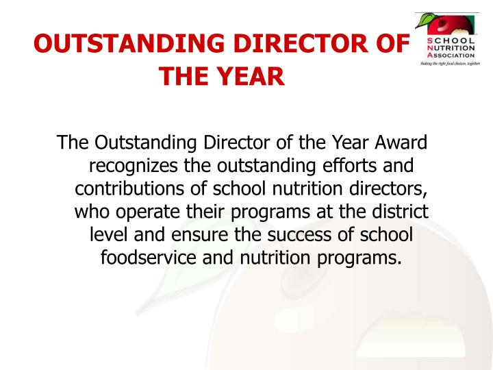OUTSTANDING DIRECTOR OF THE YEAR