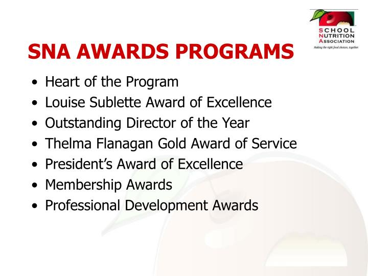 SNA AWARDS PROGRAMS