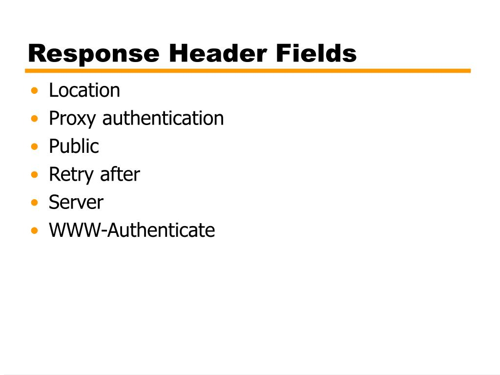 Response Header Fields