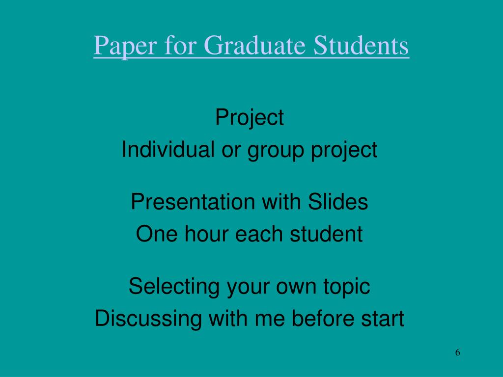 Paper for Graduate Students