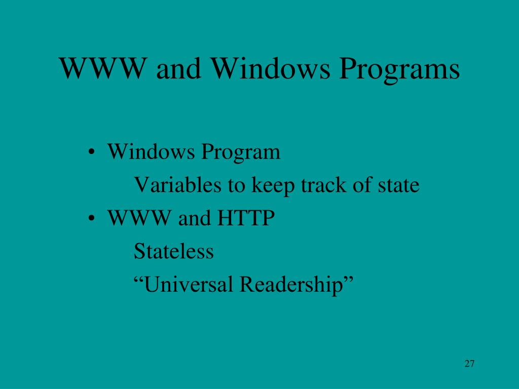WWW and Windows Programs