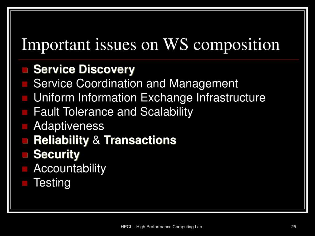 Important issues on WS composition