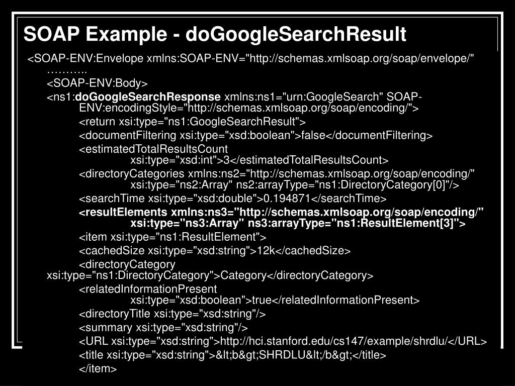 SOAP Example - doGoogleSearchResult