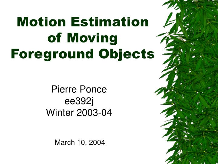 Motion estimation of moving foreground objects