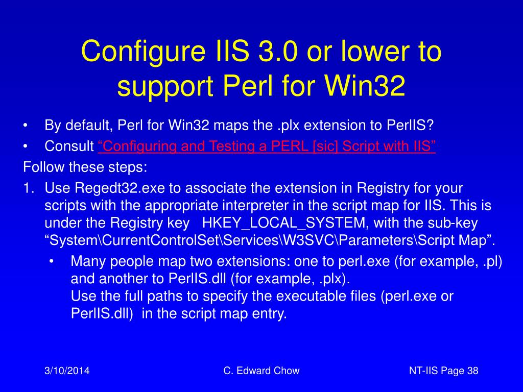 Configure IIS 3.0 or lower to support Perl for Win32